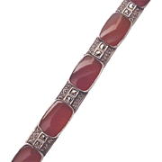 German Sterling, Carnelian and Marcasite Bracelet - Circa 1930