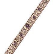 Sterling Filigree Faux Amethyst and Faux Diamond Straight Line Bracelet - Circa 1925