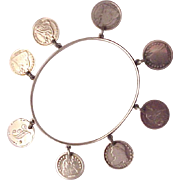 Victorian Love Token Silver Bracelet with  US Coins - Circa 1876