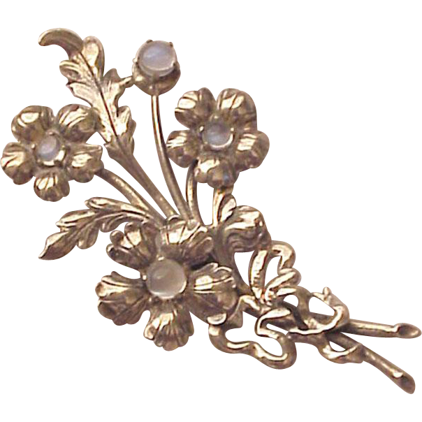Cini Sterling and Moonstone Flower Bouquet Pin - Circa 1950
