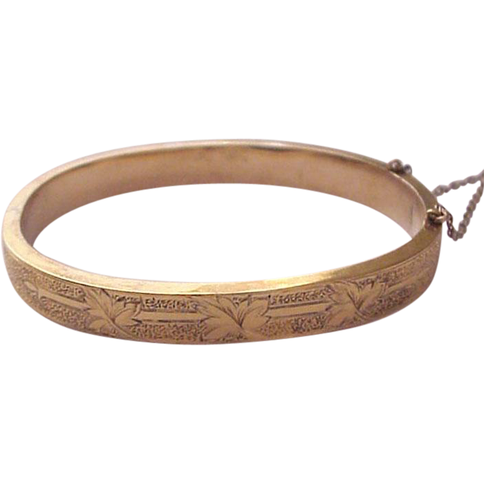 Victorian Engraved Etruscan Revival 14Kt. Yellow Gold Bracelet - Circa 1875