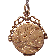 Victorian 14kt. Rose Gold Hand Engraved Watch Fob Locket - Circa 1885