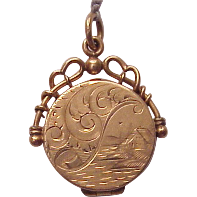 Victorian 14kt. Rose Gold Hand Engraved Watch Fob Locket - Circa 1885