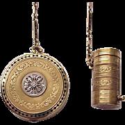 Tiffany & Co. 14Kt. Gold, Enamel and Diamond Accent Tango Compact and Lipstick - Circa 1920