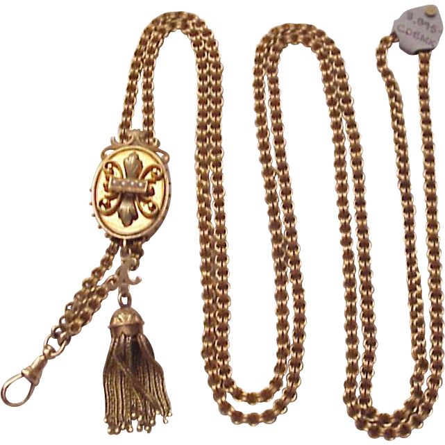 Victorian Etruscan Revival 14 Kt. Ladies Watch Chain - Circa 1890