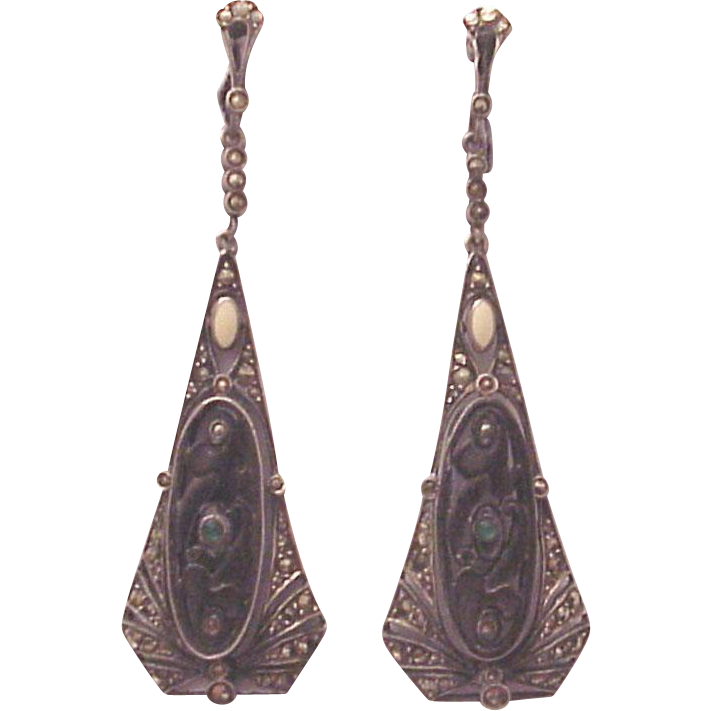 Theodor Fahrner Sterling, Wood, Enamel, Chrysoprase and Marcasite Screw Back Earrings - Circa 1925