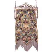Mandalian Pearlescent Painted Mesh Bag - Purse - Circa 1925
