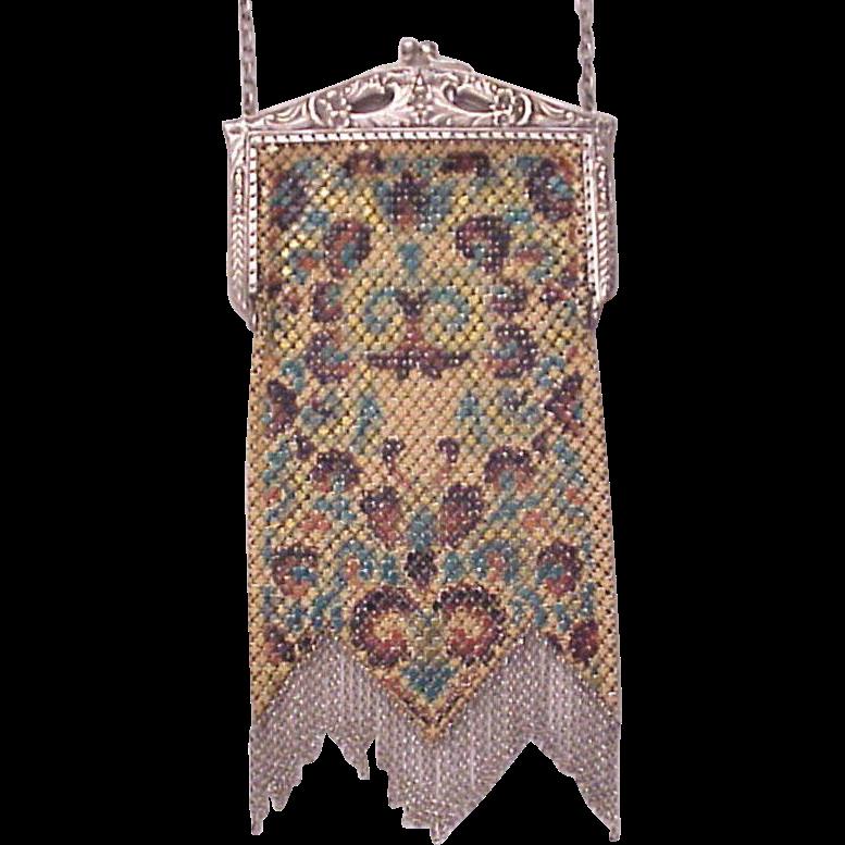 Mandalian Pearlescent Painted Mesh Bag - Purse - Circa 1925