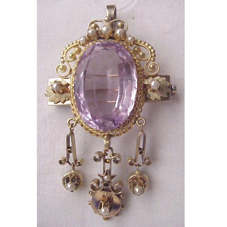 Victorian Etruscan 14 Kt. Gold, Amethyst & Cultured Pearl Pin - Pendent Circa 1875