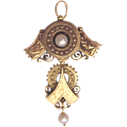 Victorian Two Tone 14kt. Gold Pin - Pendent with Cultured Pearl Accent - Circa 1880