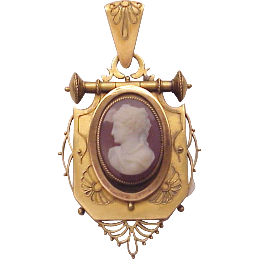 Victorian 14Kt. Gold and Hard Stone Cameo Locket - Circa 1875