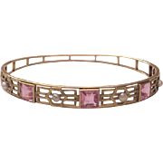 14Kt. Gold, Rose Tourmaline and Cultured Pearl Bangle - Circa 1900