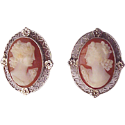14Kt. White Gold and Shell Cameo Screw Back Earrings - Circa 1925