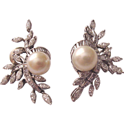 14Kt. White Gold, Diamond and Cultured Pearl En Tremblant Pierced Cocktail Earrings - Circa 1960
