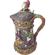 Large Minton Majolica Flagon / Pitcher Pattern # 1231 - Date Mark of December 1875