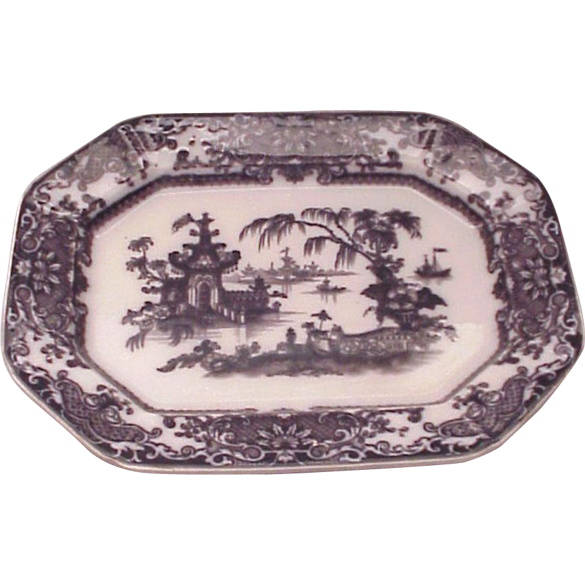 PW & Co. Transfer Ware Corean Pattern Mulberry Platter - Circa 1845