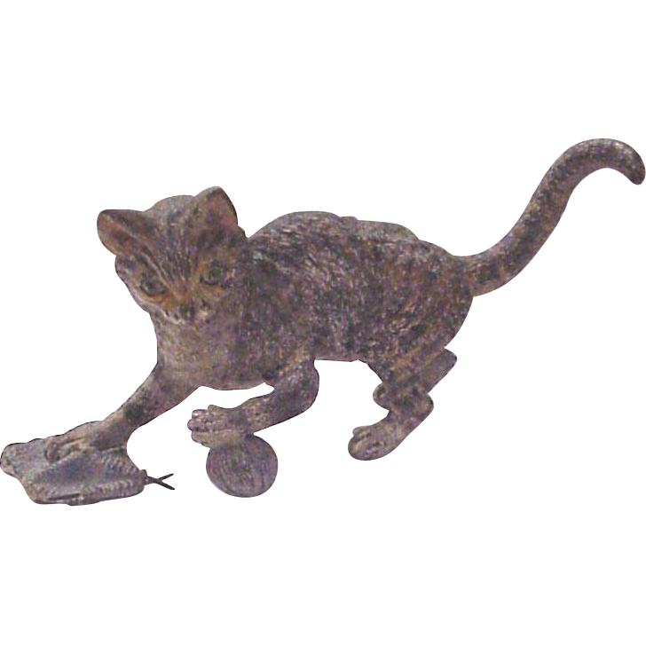 Cold Painted Vienna Bronze Cat - Circa 1910