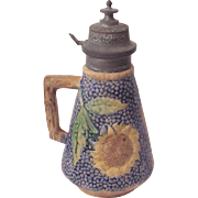 Griffin Smith & Hill - Etruscan Majolica Sunflower Syrup Pitcher - Circa 1885
