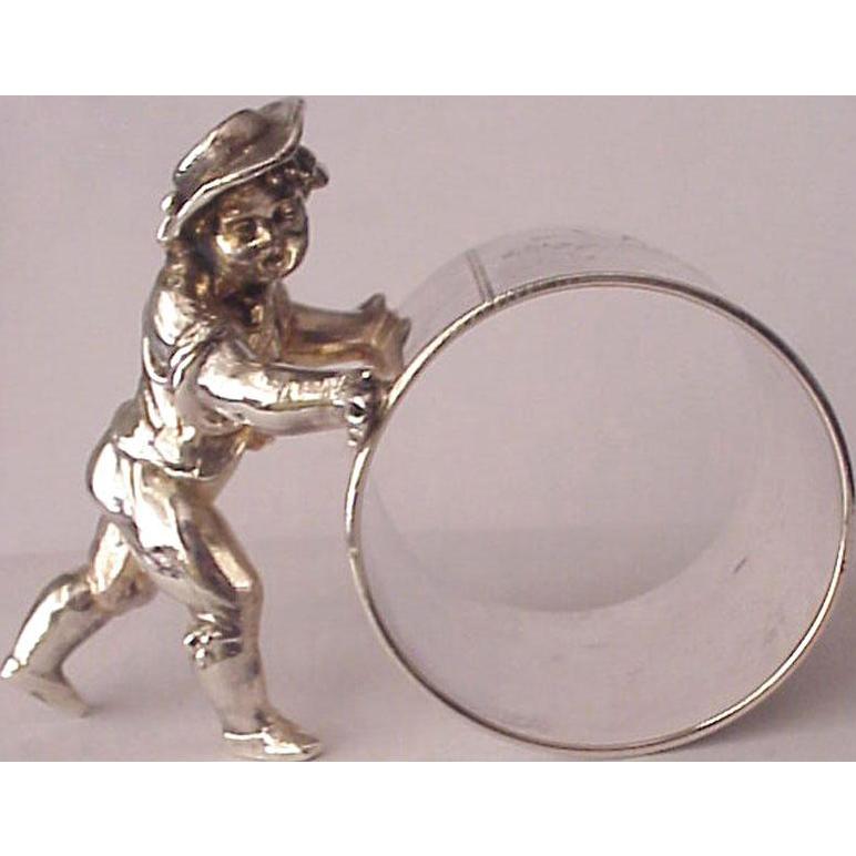 Meriden Britannia Co. Quadruple Plate Figural Napkin Ring - Circa 1880
