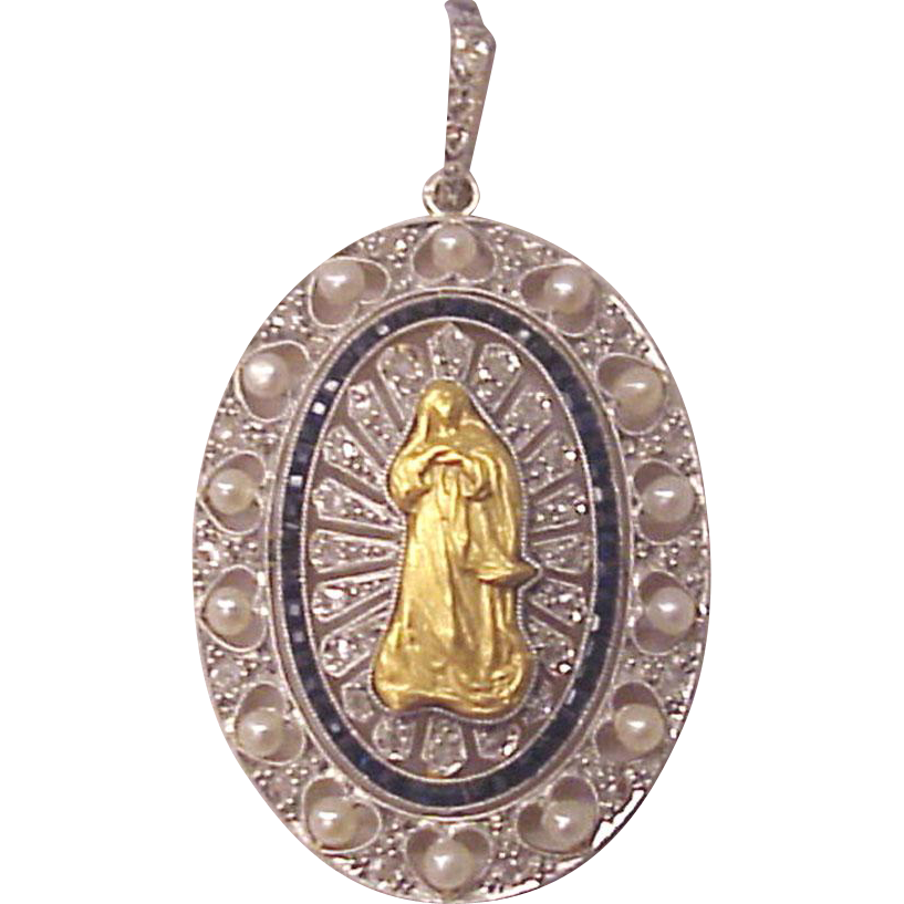 Our Lady of the Assumption 18kt. Gold Pendent with Diamond, Cultured Pearl and Synthetic Sapphire Accents  - Circa 1910