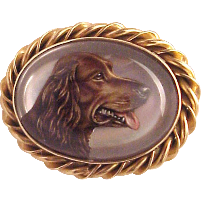 14Kt. Gold and Essex Crystal Dog Pin - Circa 1930