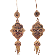 14Kt. Victorian Etruscan Revival Pierced Earrings - Circa 1870
