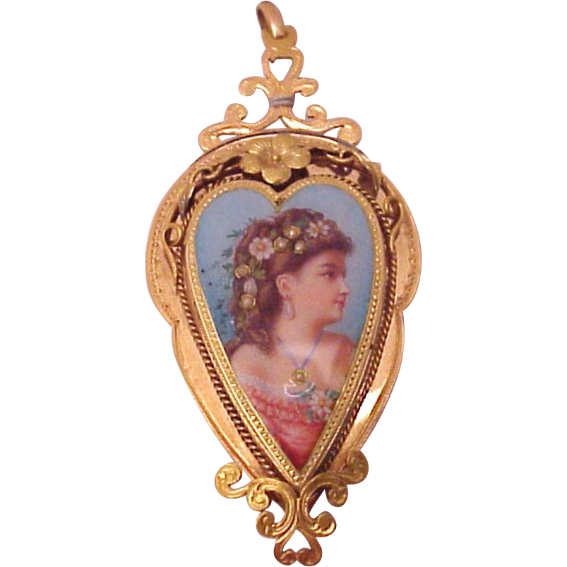 European 18kt. Heart Shaped Hand Enameled Portrait Locket - Circa 1850