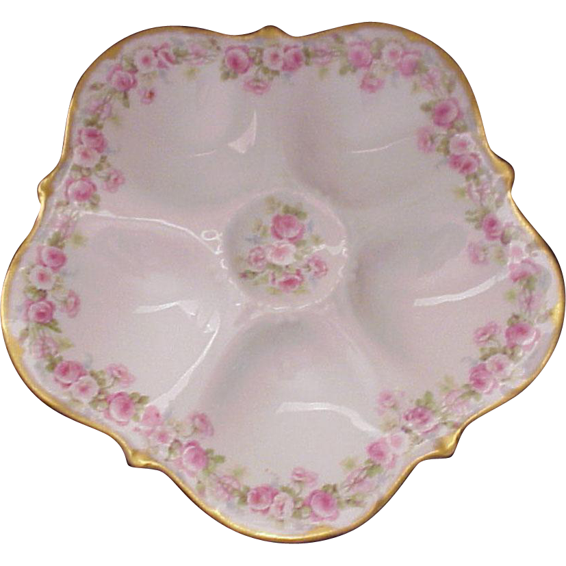Elite (Bawo & Dotter Co.) Limoges Rose Pattern Oyster Plate - Circa 1910