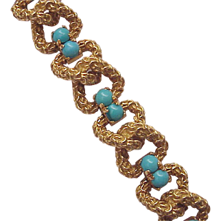 Italian 18Kt. Gold and Persian Turquoise Bracelet - Circa 1960