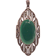 German Sterling, Chrysoprase and Marcasite Pendent - Circa 1930