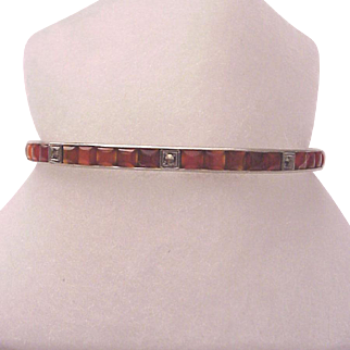 Sterling and Carnelian Bracelet with Marcasite Accent - Circa 1925