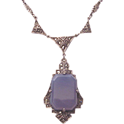 Sterling, Marcasite and Chalcedony Pendent - Germany C-1930