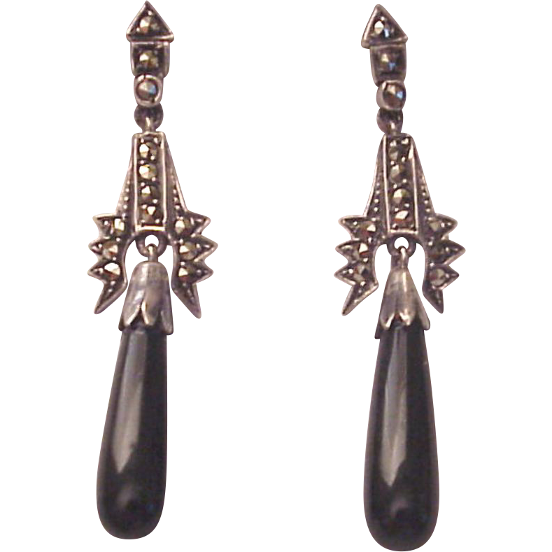 Sterling, Marcasite and Onyx Screw Back Earrings - Circa 1930