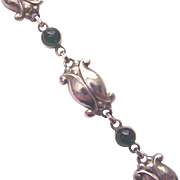 Georg Jensen Chrysoprase and Sterling Bracelet # 11 - Circa 1960