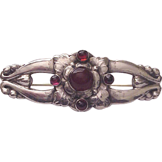 Georg Jensen 830 Silver and Gemstone Pin / Brooch # 99 - Circa 1915-30