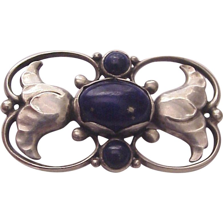 Georg Jensen Sterling and Lapis Pin / Brooch # 236 A - Marks for 1915-30