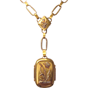 Victorian Aesthetic Movement 18kt. Gold Memorial Locket - Circa 1885