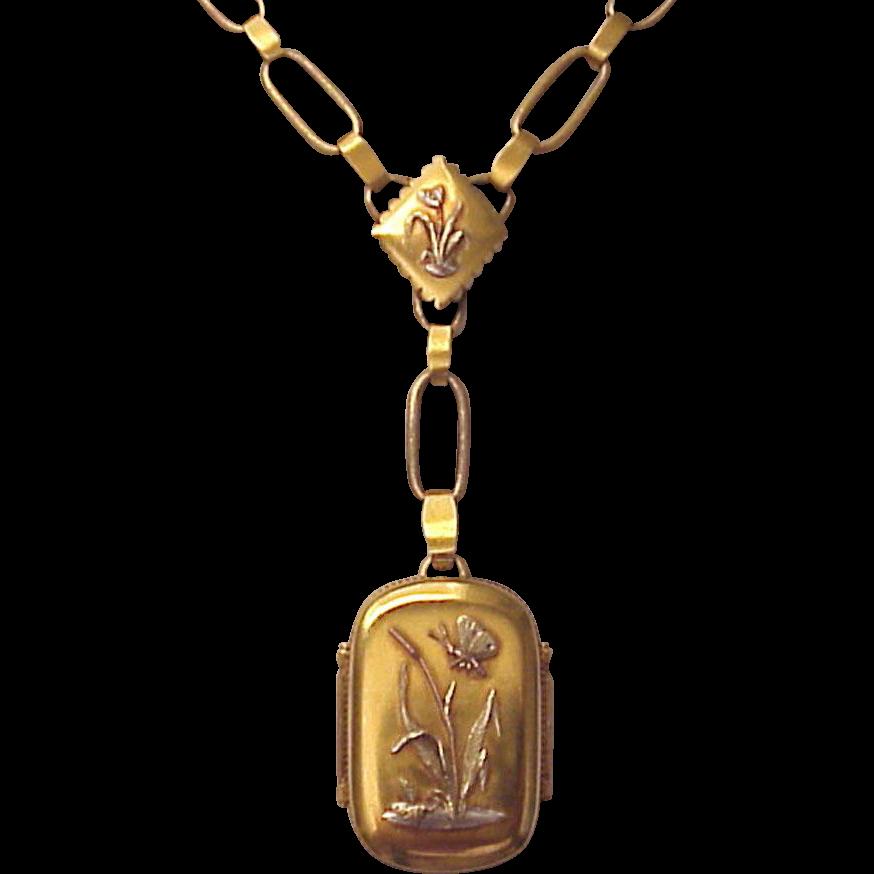 Victorian Aesthetic Movement 18kt. Gold Memorial Locket - Circa 1885
