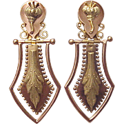 Victorian Aesthetic Movement 14kt. Gold Screw Back Earrings - Circa 1880