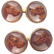 Terrier Essex Crystal and 14 Kt. Cufflinks Cuff Links - Circa 1920
