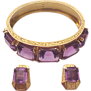 18Kt. Gold and Amethyst Bracelet and Matching Pierced Earrings - Circa 1975