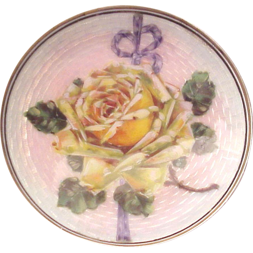 European 935 Silver Guilloche Enamel Hairpin / Ring Dish - Circa 1925