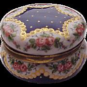 European Hand Painted Porcelain Enamel Round Trinket Box - Circa 1900