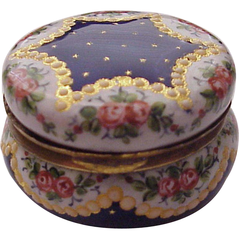 European Hand Painted Porcelain Enamel Round Trinket Box - Circa 1900