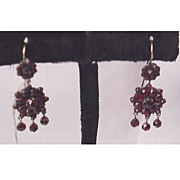 Victorian Bohemian Garnet Pierced Earrings - Circa 1890
