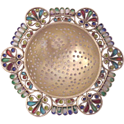Georg Adam Scheid Plique A` Jour and 935 Vermeil Silver Tea Strainer - Circa 1900