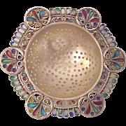 Georg Adam Scheid Plique A` Jour and 935 Vermeil Silver Tea Strainer - Circa 1900