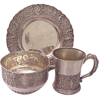 Gorham Sterling Pattern of Medieval Dancers Youth Set - Date Marks 1887 & 1888