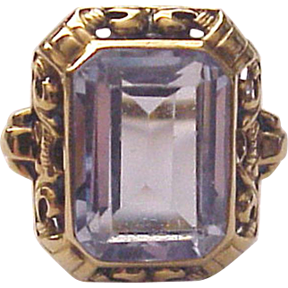 European 14Kt. Gold and Synthetic Spinel Ring - Circa 1950