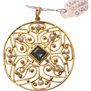 Art Nouveau 14Kt. Gold, Tourmaline and Cultured Pearl Pendent - Circa 1910